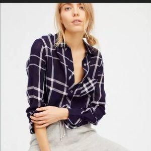 Rails Free People Charli Plaid Linen Shirt Blouse